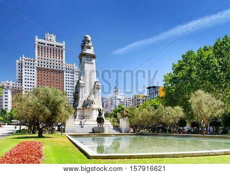 View Of The Cervantes Monument And The Spain Building (edificio Espana) On The Square Of Spain