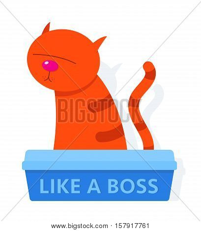 Cute red cartoon cat sitting in a litter box labelled Like A Boss isolated on white vector illusration
