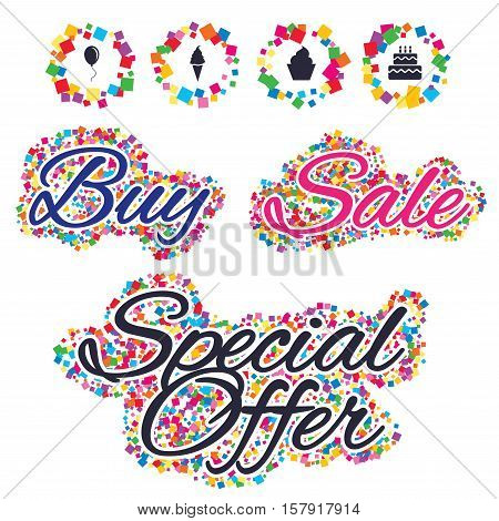 Sale confetti labels and banners. Birthday party icons. Cake with ice cream signs. Air balloon with rope symbol. Special offer sticker. Vector