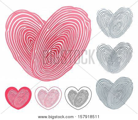 Heart icon formed of two overlapping fingerprints symbolising the commitment and love of two people in six different variations on white to celebrate a wedding vector illustration