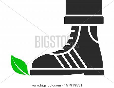 Green leaf being trodden on by a shoe in a simple cartoon silhouette vector design on white with copy space