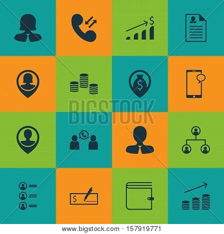 Set Of Human Resources Icons On Phone Conference, Wallet And Business Woman Topics. Editable Vector