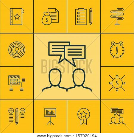 Set Of Project Management Icons On Discussion, Present Badge And Presentation Topics. Editable Vecto
