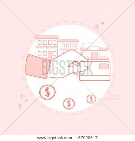Hand Hold Credit Card Banking Transactions Vector illustration