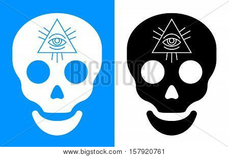 Third eye symbol over human skull icon for concept about death and seeing into the future vector illustration