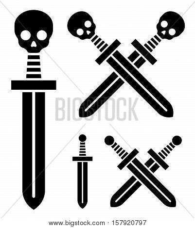 Black silhouette broadsword icon with skull handle and a second variation with plain handle single and crossed conceptual of piracy and death vector illustration