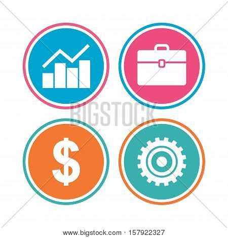 Business icons. Graph chart and case signs. Dollar currency and gear cogwheel symbols. Colored circle buttons. Vector