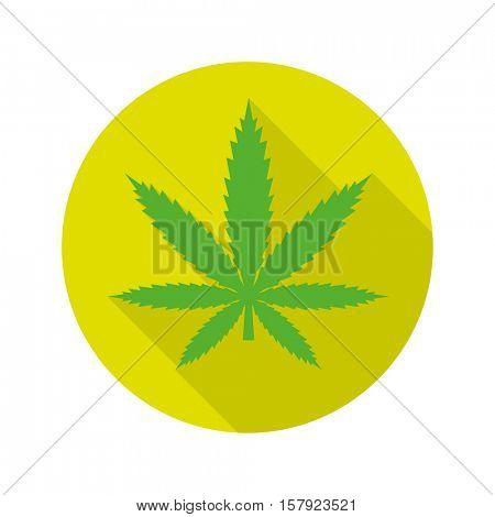 Cannabis symbol. Green marijuana leaf vector icon, flat design long shadow in vibrant green circle