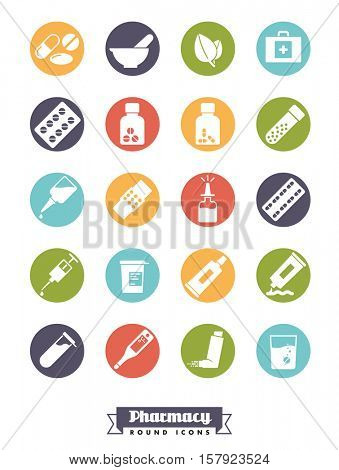 Pharmaceutics industry icon set. Collection of solid color round pharmacy and medicine glyph icons.