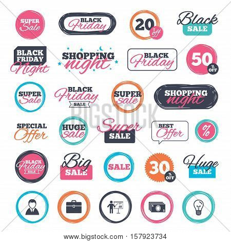 Sale shopping stickers and banners. Businessman icons. Human silhouette and cash money signs. Case and presentation with chart symbols. Website badges. Black friday. Vector