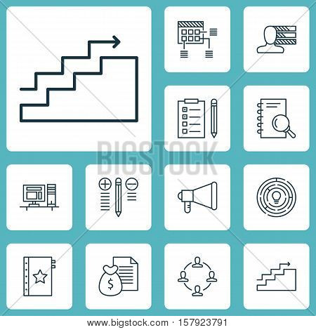 Set Of Project Management Icons On Warranty, Personal Skills And Collaboration Topics. Editable Vect