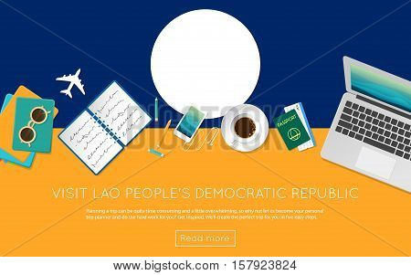 Visit Lao People's Democratic Republic Concept For Your Web Banner Or Print Materials. Top View Of A