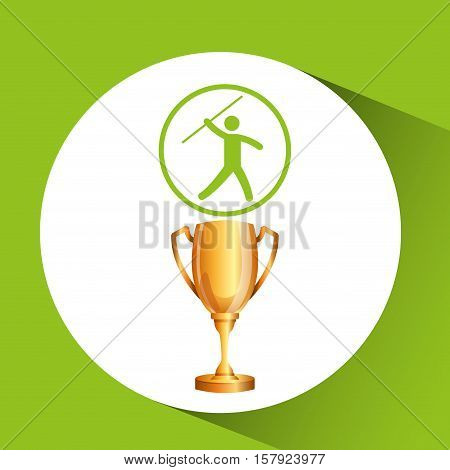 silhouette man javelin athlete trophy vector illustration eps 10
