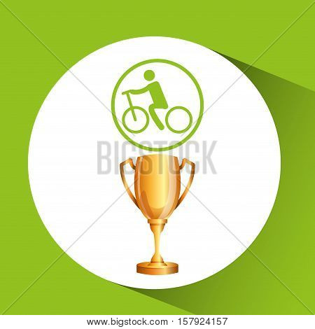 silhouette man cycling rice athlete trophy vector illustration eps 10