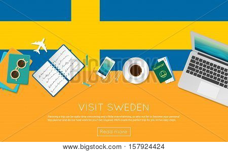 Visit Sweden Concept For Your Web Banner Or Print Materials. Top View Of A Laptop, Sunglasses And Co