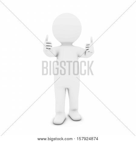 White 3D Man Character With Two Thumbs Up 3D Illustration