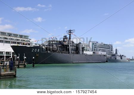 AUCKLAND - NOV 20 2016:The Indonesian Navy amphibious transport dock ship KRI Banda Aceh (LPD 539) arrives at Auckland New Zealand as part of the NZ Navy's 75th birthday celebrations.