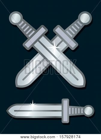 Vector illustration of shiny crossed silver swords over dark background