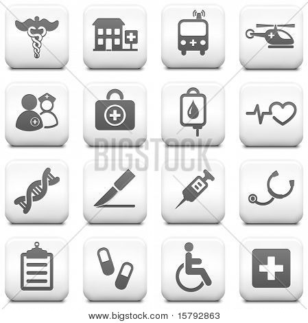 Medical Icon on Square Black and White Button Collection Original Illustration