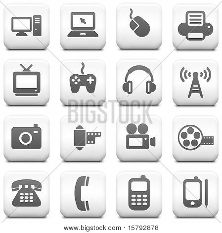 Technology Icon on Square Black and White Button Collection Original Illustration