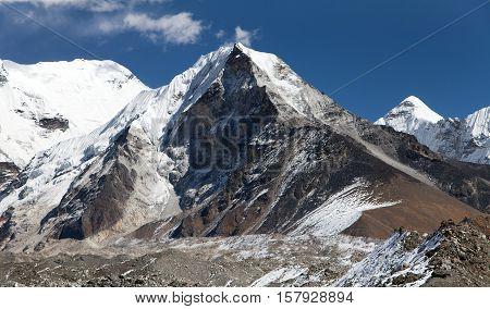 View of Island peak or Imja Tse view point to mount Lhotse and Ama Dablam one of the best trekking peaks in Khumbu valley Everest area Solukhumbu Sagarmatha national park Nepal
