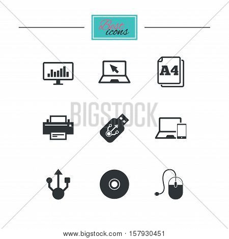 Computer devices icons. Printer, laptop signs. Smartphone, monitor and usb symbols. Black flat icons. Classic design. Vector