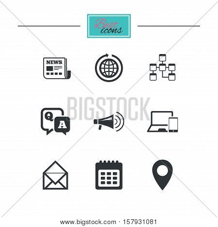 Communication icons. News, chat messages and calendar signs. E-mail, question and answer symbols. Black flat icons. Classic design. Vector