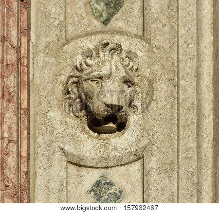 Venice Lion head from old gothic portal in Saint Mark Square