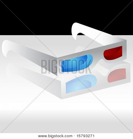An image of a 3D glasses on a gray background with reflection.