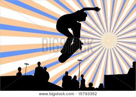 Springen Skateboarder Vector silhouette