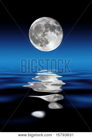 Full Moon Rising Over Water At Night