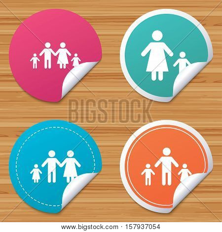 Round stickers or website banners. Family with two children icon. Parents and kids symbols. One-parent family signs. Mother and father divorce. Circle badges with bended corner. Vector