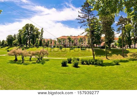 Town of Karlovac green park view northern Croatia