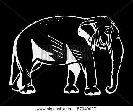 Hand-drawn pencil graphics, elephant. Engraving, stencil style. Black and white logo, sign, emblem, symbol. Stamp, seal. Simple illustration. Sketch.