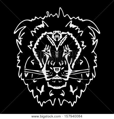 Hand-drawn pencil graphics, lion. Engraving, stencil style. Black and white logo, sign, emblem, symbol. Stamp, seal. Simple illustration. Sketch.