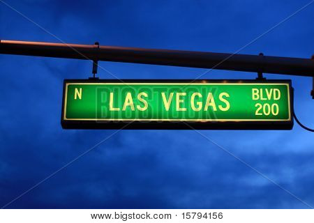 Las Vegas Blvd. sign at dusk, Las Vegas, Nevada, USA