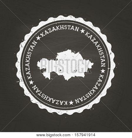 White Chalk Texture Rubber Stamp With Republic Of Kazakhstan Map On A School Blackboard. Grunge Rubb