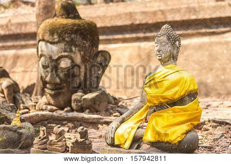 Old Buddha statue in Wat Umong, Chiang Mai Thailand