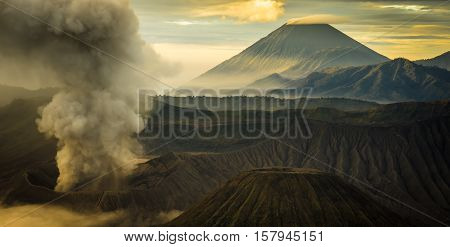 the beautiful mountaintop and crater of mount Bromo in Indonesia that still active