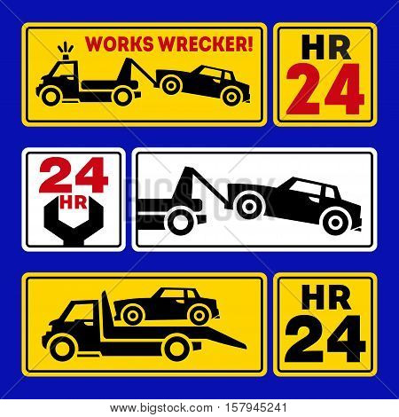 Evacuation signs, icons, pictograms the truck. vector illustrations