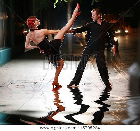 Hot latin dance on a street
