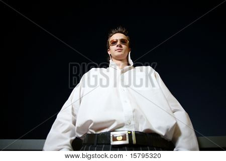 Wide angle portrait of a young businessman