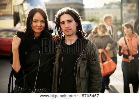 Young couple together on a street