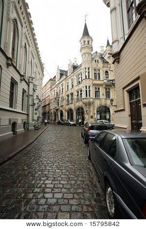 Street of an old European town. Riga, Latvia, Europe.