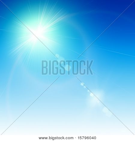 Abstract white flare over blue background