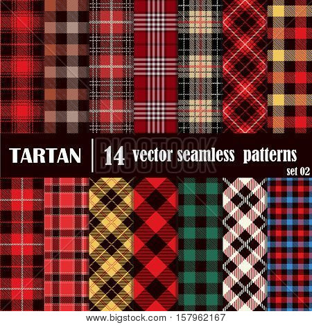 Set Tartan Seamless Pattern. Trendy Illustration for Wallpapers. Tartan Plaid Inspired Background. Suits for Decorative Paper Fashion Design and House Interior Design as Well as for Hand Crafts and DIY.