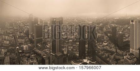 view european city Frankfurt am main skyscrapers. Toned Image