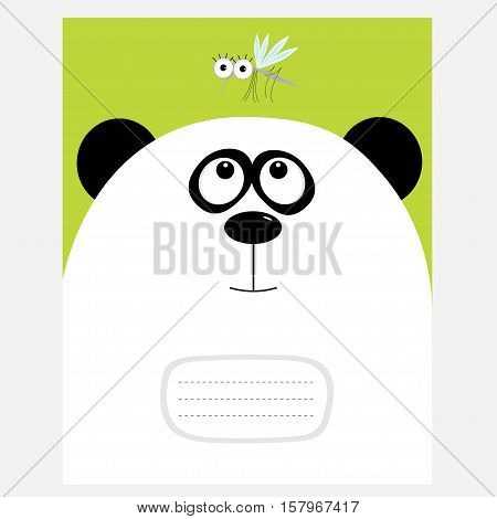 Notebook cover Composition book template. Panda bear big head looking at honey mosquito insect. Cute cartoon character. Baby animal collection Green background Flat design Vector illustration