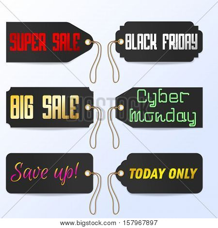Vector Set Black Friday Cyber Monday tagline sales tags illustration
