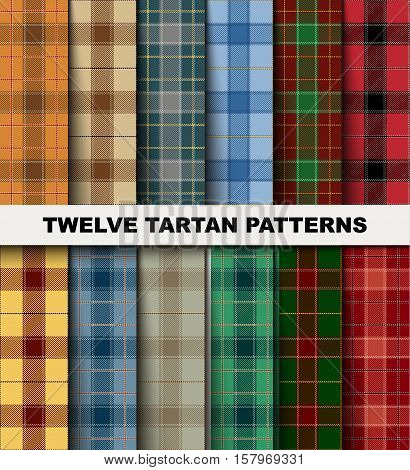 Twelve Seamless Set Tartan Pattern. Trendy Vector Illustration for Wallpapers. Seamless Tartan Tiles. Traditional Scottish Ornament. Tartan Plaid Inspired Background.